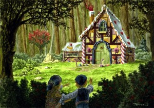 Christopher stops to watch a performance of Hansel and Gretel in the Swedish Cottage in Central Park