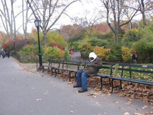 Homeless man in Central Park