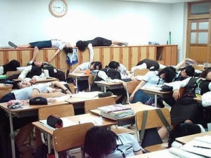 An entire class of students asleep at school